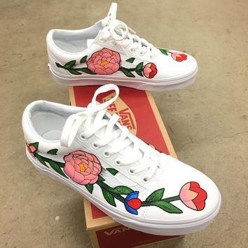 Custom Painted Vans Old Skool - Flower Theme