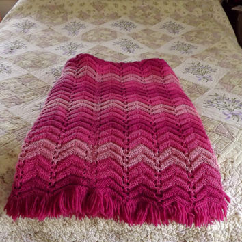 Crochet Afghan Throw, Vintage Twin Bed Blanket, Handmade Mod Chevron Pink Pastel Afghan, 50 x 70