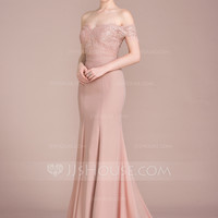 [US$ 154.19] Trumpet/Mermaid Off-the-Shoulder Court Train Chiffon Lace Prom Dress With Beading Sequins - JJsHouse