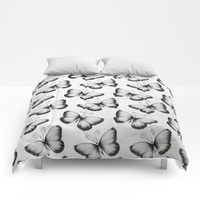 Grey Butterfly Pattern Comforters by LouJah