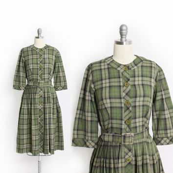 Vintage 50s Dress - Jerry Golden Green Plaid Full Skirt Shirt Day Dress - Small