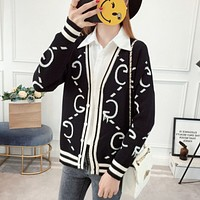 """Gucci"" Women Fashion Letter Multicolor Long Sleeve Deep V-Neck Knit Cardigan Sweater Coat"