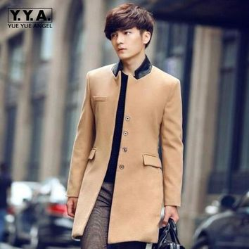 New Fashion Mens Trench Dust Coats Man Long Jackets Winter Outwears Slim Fit Long Wool Coats Korea Style Male Woolen Blend Coat