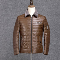 Genuine Men Winter Leather Jackets With Fur High Quality Add White Duck Men Motorcycle Down Jacket And Coat