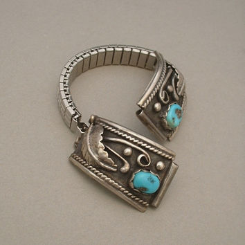 Vintage NATIVE American STERLING Navajo Turquoise Watch TIPS Stretch Band c.1960s