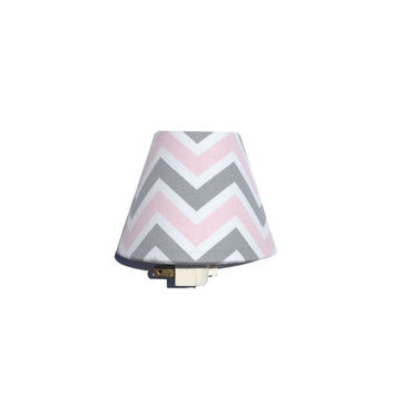 Pink Gray White Chevron Night Light / Baby Girl Nursery Decor / Bella Girls Room / Premier Prints Grey