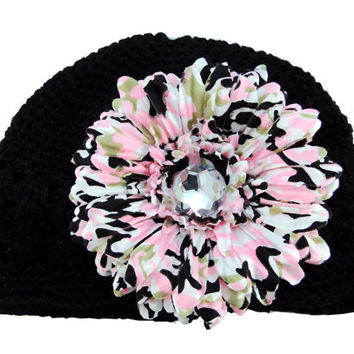 Camo Daisy Hair Clip Black Crochet Hat Camo Flower Baby Hat Toddler Hat Hair Accessories Camo Clippie Baby Photo Prop Children's Accessories