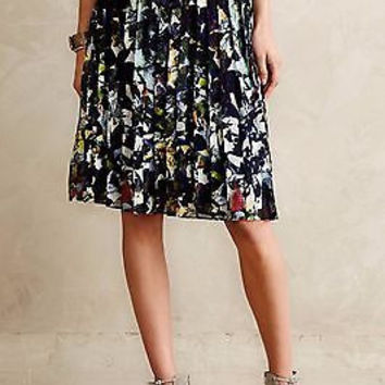 NWT Anthropologie Pleated Petunia Skirt Sz L P - By Maeve