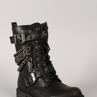 Wild Diva Lounge Timberly-119 Chain Military Lace Up Boot