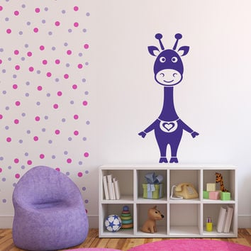 Vinyl Decal Funny Cartoon Girl Cow Nursery Kid's Room Decor Wall Sticker  Unique Gift (n503)
