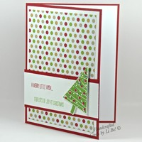 Merry Little Wish Christmas Tree Handmade Card With Polka Dotted Paper