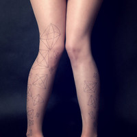Geometric Pattern - Tattoo Tights - Free Shipping - Made to order :)