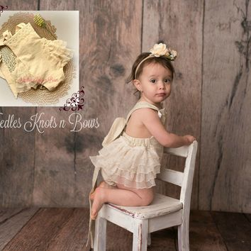 Girls Cream Boho Romper, Bohemian Romper, Baby Girls Clothes, Cake Smash, Birthday Outfit