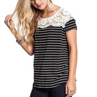 All About That Lace - Stripe Top  (Black with White)