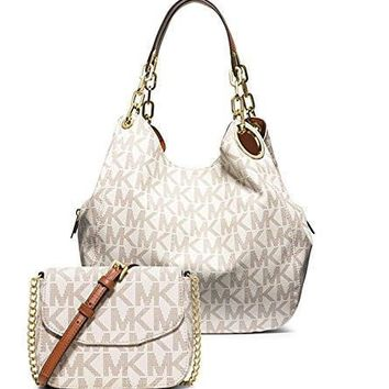 michael kors women s new fashion fulton large logo shoulder bag fulton small crossbody white