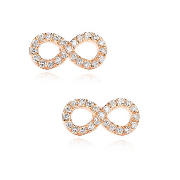 Infinity W. Cubic Zirconia Stud Earrings (Rose Gold Color)