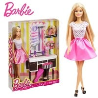 Barbie Doll With Hair Accessory Educational Toy Gift For Girl Barbie Doll Creative Designer Toy DJP92 Free Shipping