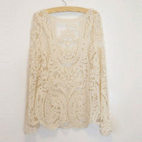 Women Lace Beige Retro Floral Knit Top Long Sleeve T Shirt Waistcoat Pullover