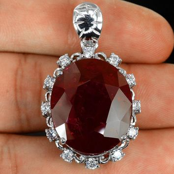 Vintage Natural 14K White Gold 36CT Oval Cut Red Ruby Pendant