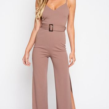 Hollywood Nights Sleeveless Spaghetti Strap V Neck Side Slit Belted Loose Wide Leg Jumpsuit - 2 Colors Available - Sold Out