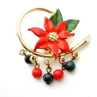 Vintage Christmas Enamel Poinsettia Brooch Holiday Pin