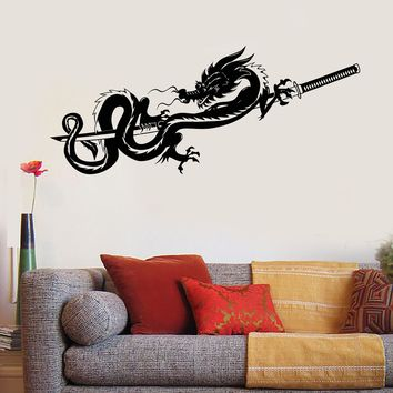 Vinyl Wall Decal Dragon Samurai Sword Warrior Asian Stickers Mural Unique Gift (076ig)