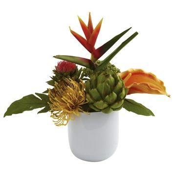 Artificial Flowers -Tropical Floral Arrangement With White Glass Vase Silk Flowers