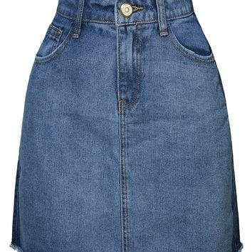 LE3NO Womens Vintage Distressed Frayed Contrast Denim Skirt