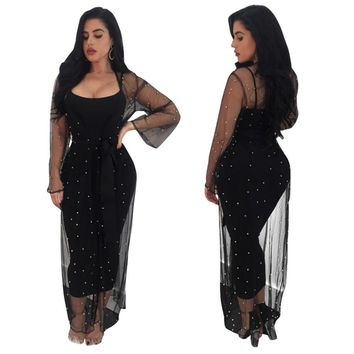 Women Two Piece Dress Sexy Elegant Sheer Mesh Long Sleeve Maxi Dress Casual Beading Party Black Bodycon Dress Female Vestidos