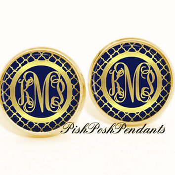 Monogram Earrings, Personalized Navy Gold Earrings (537)