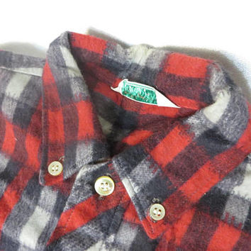 Vintage Shirt 50s Flannel Shadow Plaid Buffalo Check Cotton Rockabilly Boy Girl Healthtex Button Down Collar