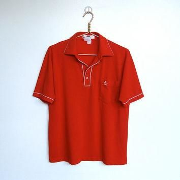 Mens Vintage 1970 - 80s Munsingwear Grand Slam / Red and White Polo / Golf Shirt / Pen