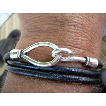 Leather Bracelet, Triple Wrap Black,  Hook Closure Clasp, Mens Bracelet, Mens Jewelry, Womens Jewelry, Womens Bracelet