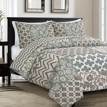 Hedaya Home Emelina 3-pc. Reversible Quilt Set