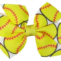 "Ship From USA--Hip Girl Boutique 2pc Small 3"" Softball(White/Lemon) Grosgrain Ribbon Pinwheel Hair Bow on Lined Alligator Clips-One Size"