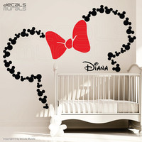 Mickey Mouse ears with Bow & PERSONALIZED BABY NAME / Minnie Mouse wall decals by Decals Murals (Large)
