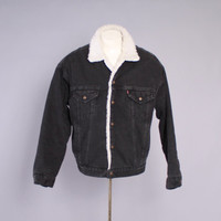 80s Men's LEVI'S JEAN JACKET / 1980s Black Sherpa Lined Trucker Jacket xl