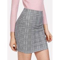 Grey Plaid Above Knee Skirt