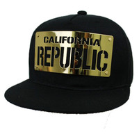 * California Republic Gold Metal design Snap Back In Black
