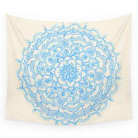Society6 Pale Blue Pencil Pattern Hand Drawn Lace Wall Tapestry