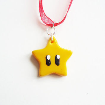 MARIO INVINCIBILITY STAR  necklace by FrozenNote on Etsy