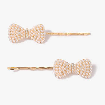 Pearlescent Bow Hair Pin Set