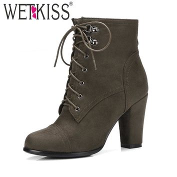 WETKISS Brand Women Ankle Boots Cross tied Side Zipper Military Booties Woman Thick High Heels Shoes Female Winter Boots Big