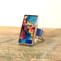 Silver Rectangle Ring, Statement Ring, Wearable Art, Bezel Ring, Mixed Metal Ring, Unique Ring, Abstract Ring, Metal Print