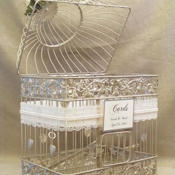 Wedding Card Box / Champagne Birdcage / Pearls / Bird Cage Wedding Card Holder / Elegant / Gold