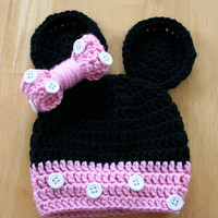 Mouse Hat, crochet photo prop, baby girl photo prop, pink and black, white buttons, Newborn to 12 Months
