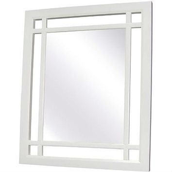 Rectangular Bathroom Wall Mirror with White Modern Frame - 24 x 20 inch