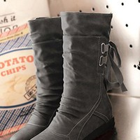 New Women Grey Within The Higher Lace-up Casual Mid-Calf Boots