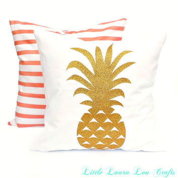 Coral or Pineapple Pillow Cover,Tropical Pillow Cover, Boho, Pineapple, Decorative Pillow, Summer Pillow, Pineapple Decor, Gift for Her