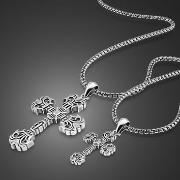 Fashion Men & Women Cross Lovers Necklace Solid 925 Sterling Silver Classic Retro Necklace Valentine's Day Gift